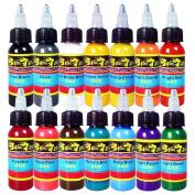 Solong Tattoo® 14 Basic Colours Tattoo Ink Set Pigment Kit 1oz (30ml) Professional Tattoo Supply for Tattoo Kit TI301-30-14