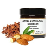 Almond and Sandalwood Handcream; in a 60ml amber glass jar; Rich and nourishing. Paraben Free.