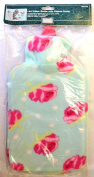 2L Hot Water Bottle & Soft Fleece Cover Blue With Pink Flowers Design Cosy Gift