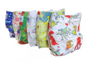Three Little Imps Unisex Patterned Range Cloth Nappies (including 2 inserts per nappy) - Set of 6