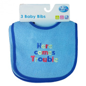 FIRST STEP Baby Plain & Embroidery Patterned Baby Boy Baby Girl Blue Pink Bibs Set Of 3