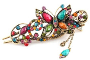 Multicoloured Women's Vintage Style Butterfly Inlaid Bead Beaded Hair Pin Clip Barrette for Long Hair Ponytail