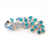 Shop4Jewellry365(TM)Women's Vintage Crystal Peacock Hair Clip Head Wear-Blue