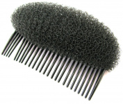 Super black foam hair shaper on comb. Perfect for bouffant styles, up-dos, French pleats, etc. Useful hair accessory.