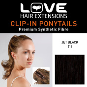 Love Hair Extensions Percilla Crocodile Clip Ponytail Jet Black 16 -inch