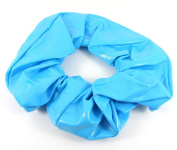 Large Bright Blue Shiny PVC Faux Leather Hair Scrunchie