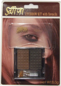 SAFFRON EYEBROW KIT WITH STENCILS - DARK BROWN