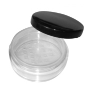 3x 20mL EMPTY PLASTIC JARS POTS with SIFTER & BLACK SCREW LIDS For Cosmetics/Powder/Mineral Make Up/Blusher/Foundation