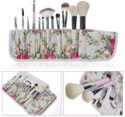 Lychee Professional Beautiful 12pcs Makeup Brushes Cosmetic Soft Make Up Brush Set Kit Foundation with Floral Style Pouch Bag Case