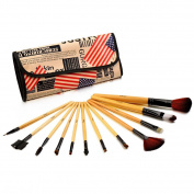 Glow Professional 12-Piece Makeup Brush Set, American Flag