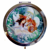 Silver Finish Round BABY ANGEL Handbag Compact Mirror Great Gifts Idea for Mum Birthday Christmas Presents Mothers Day Gift
