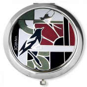 Vanroe 'Magpie in Black & Red' Designer Compact Mirror in Gift Box - British Birmingham Enamel, Magnified, Traditional 'good luck' charm