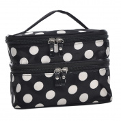 HOUSWEETY Dots Pattern Double Layer case Travel Toiletry Cosmetic Makeup Bag With Mirror(black or red)((20cm x 5 0.3cm x 4 2.2cm ))