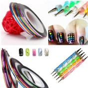 Ukamshop Extra Value Meal 5 X 2 Way Marbleizing Dotting Pen Set for Nail Art Manicure Pedicure+10 Colour Rolls Nail Art Decoration Striping Tape