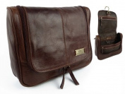 Rowallan Mens Vintage Leather Hanging Wash Bag Travel Toiletries Cognac Colour