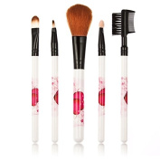 Kongkay 5 Pieces Professional Make up Brushes, High Quality Collection 5 Pcs Cosmetic Brush Set in White with Red Hearts Pattern.