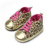 Newborn Baby Infant Toddler Unisex Leopard Gold Crib Shoes Walking Sneaker New