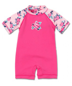 Bright Bots 18/24m Sun Protections UPF50+ Baby Girl Short Leg/Sleeve Sunsuit - Pink Floral