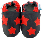 MiniFeet Soft Leather Baby Shoes, Red Stars