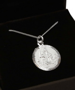 Dainty Sterling Silver Saint Christopher Necklace.Hallmarked 925. Gift for Christening/Confirmation or Leaving Home