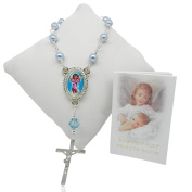 Baby Boys Single Decade Rosary Beads with Prayer Book - Christening Gift for Boy, Baptism Gift for Boy