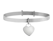 Sterling silver expandable baby bangle (hallmark 925).With sterling silver heart charm