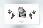 Anika-Baby BabyRice Baby Hand and Footprints Kit includes Black Inkless Prints/ Chrome Frame with White Mount Display