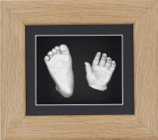 BabyRice New Baby Casting Kit with 15cm x 13cm Solid Oak 3D Box Display Frame / Black Mount / Black Backing / Silver paint