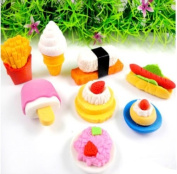 Homgaty 6Pcs Novelty Cute Food 3D Eraser Rubber Stationery Kids Gift Random style