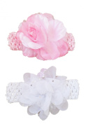 Baby Girls 2 Piece Headband Set - White Sequin Flower & Pink Satin Rose- 0-12 Months Great Gift Set!