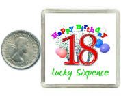 18th Birthday Lucky Silver Sixpence Gift in presentation keepsake box. Great good luck present idea for boy or girl