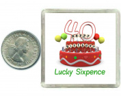 40th Birthday Lucky Silver Sixpence Gift in presentation keepsake box. Great good luck present idea for man or woman