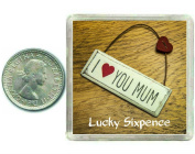 I Love you Mum Lucky Silver Sixpence Gift. Includes presentation keepsake box, great good luck charm present idea for mothers day, birthdays, xmas, from son or daughter