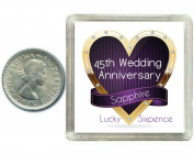 Lucky Silver Sixpence Coin Sapphire 45th Wedding Anniversary Gift. Includes presentation keepsake box, great present idea