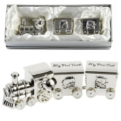 Silver Plated Train with 2 Carriages - My First Tooth & First Curl