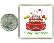 30th Birthday Lucky Silver Sixpence Gift in presentation keepsake box. Great good luck present idea for man or woman