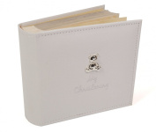 White Suede 'My Christening' Album with Silver Teddy Motif