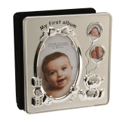 Deluxe Satin Silver Baby Photo Album - My First Album