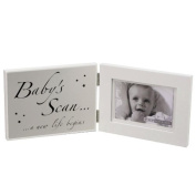 """Double White MDF Frame """"Baby's Scan"""" and Matte Silver Plaque"""