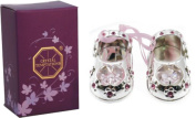 Christening Baby Girl Gift Silver Plated Baby Shoes with. Elements