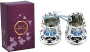 Christening Baby Boy Gift Silver Plated Baby Shoes with. Elements