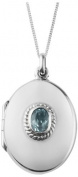 Sterling silver oval locket with topaz stone. Hallmark 925. Perfect gift to celebrate a birth, christening or confirmation.