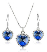 Two Set jewellery - pendants necklace and earrings Crystal Heart of the Ocean. Elements