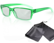 "3D Movie Glasses for Children - green / transparent - for RealD cinema use and passive 3D TVs such as LG ""Cinema 3D"" and Philips ""Easy 3D""- circularly polarised - with pouch"