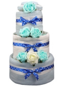 New Blue 3 tier nappy cake for baby boy