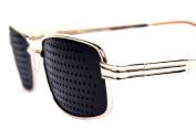 DealMagik New Gold Metal Frame Fashion Pinhole Corrective Eye Fatigue Relief Glasses