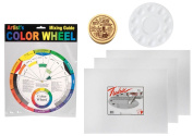 Artist Colour Wheel, 10 Well Plastic Palette, The Masters Brush Cleaner (30ml Cake), 3 Canvas Panels