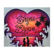 Heart in fire professional airbrush stencil