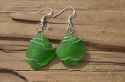 Kelly Green Dangling Sea Glass Earrings