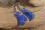 Cobalt Blue Sea Glass Dangling Earrings